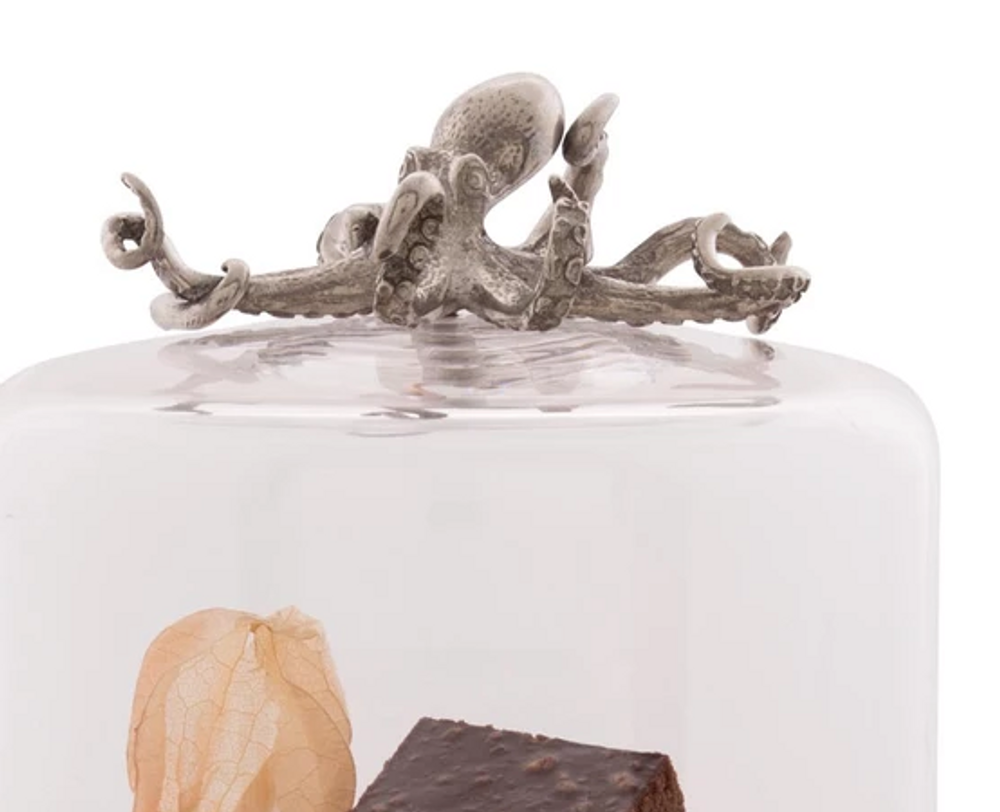 Octopus Dessert Stand with Glass Dome   Vagabond House   VHCO445TKP