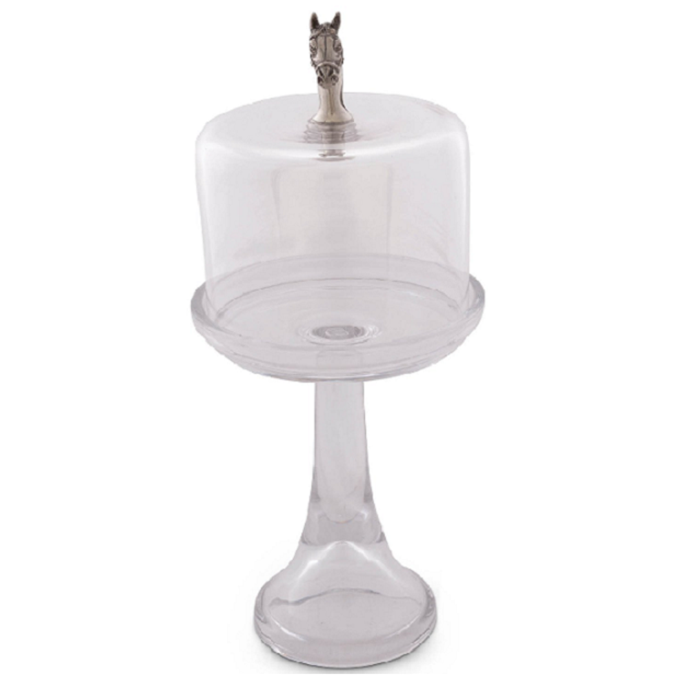 Horse Head Dessert Stand with Glass Dome | Vagabond House | VHCH445THH -2
