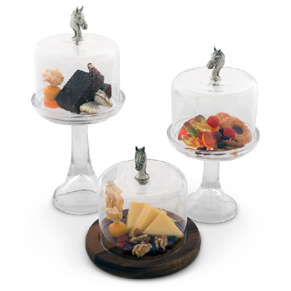 Horse Head Dessert Stand with Glass Dome | Vagabond House | VHCH445THH -3