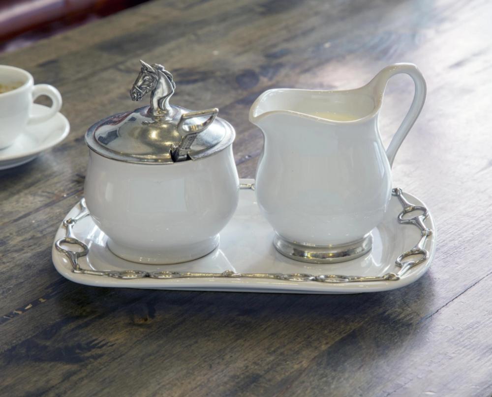 Horse Head Stoneware Creamer Set | Vagabond House | VHCH317EQ