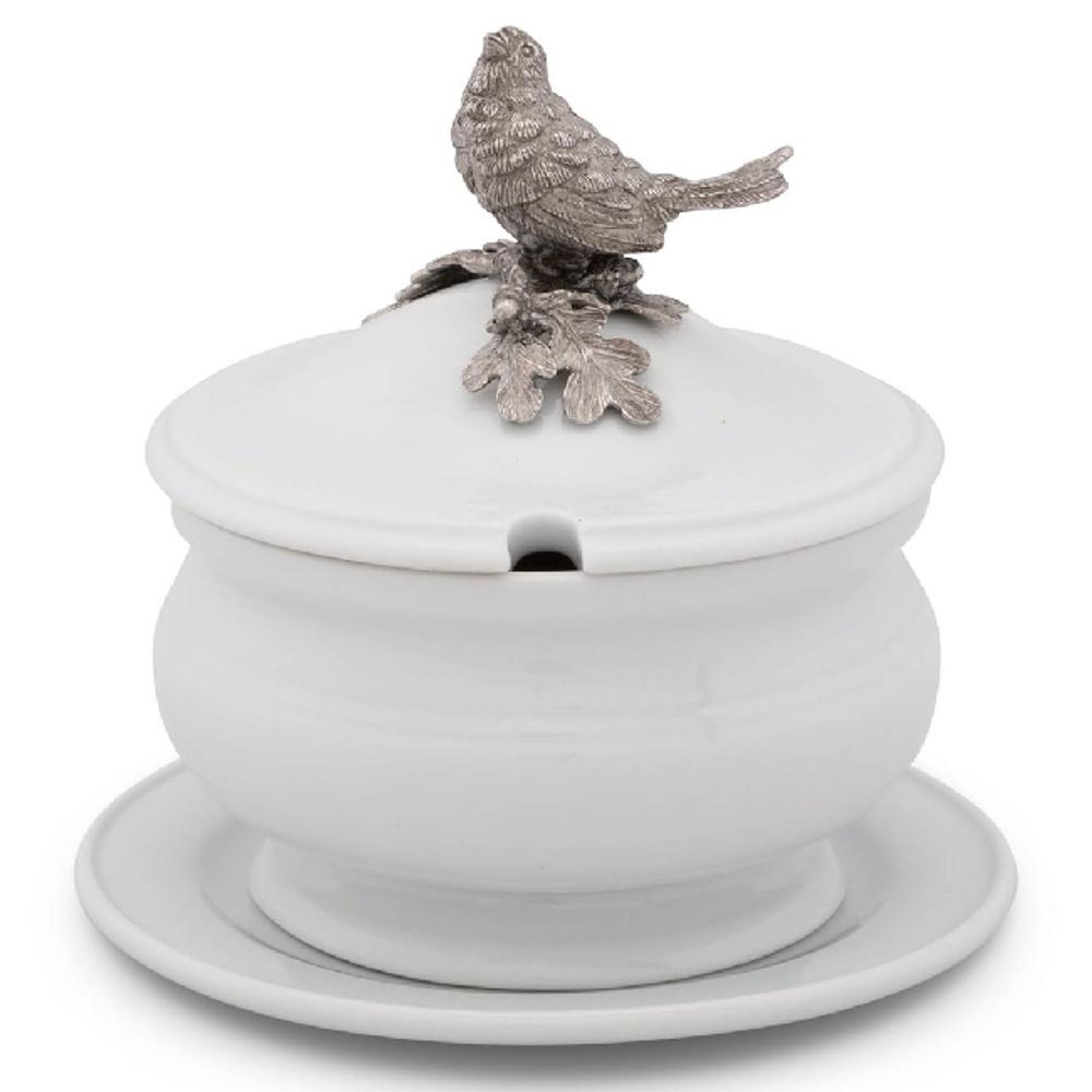 Song Bird Stoneware Covered Bowl | Vagabond House | VHCK326SB -2