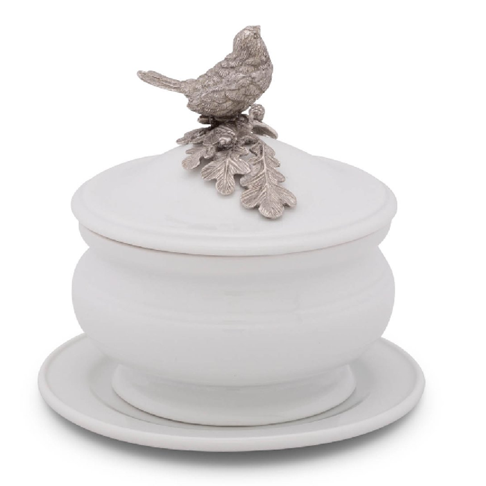 Song Bird Stoneware Covered Bowl | Vagabond House | VHCK326SB -3