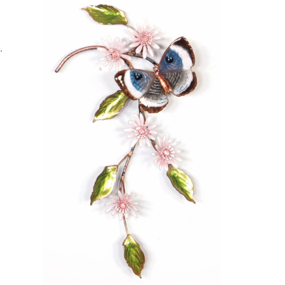 Bovano Blue Eyemark with Asters Butterfly Wall Art | W152