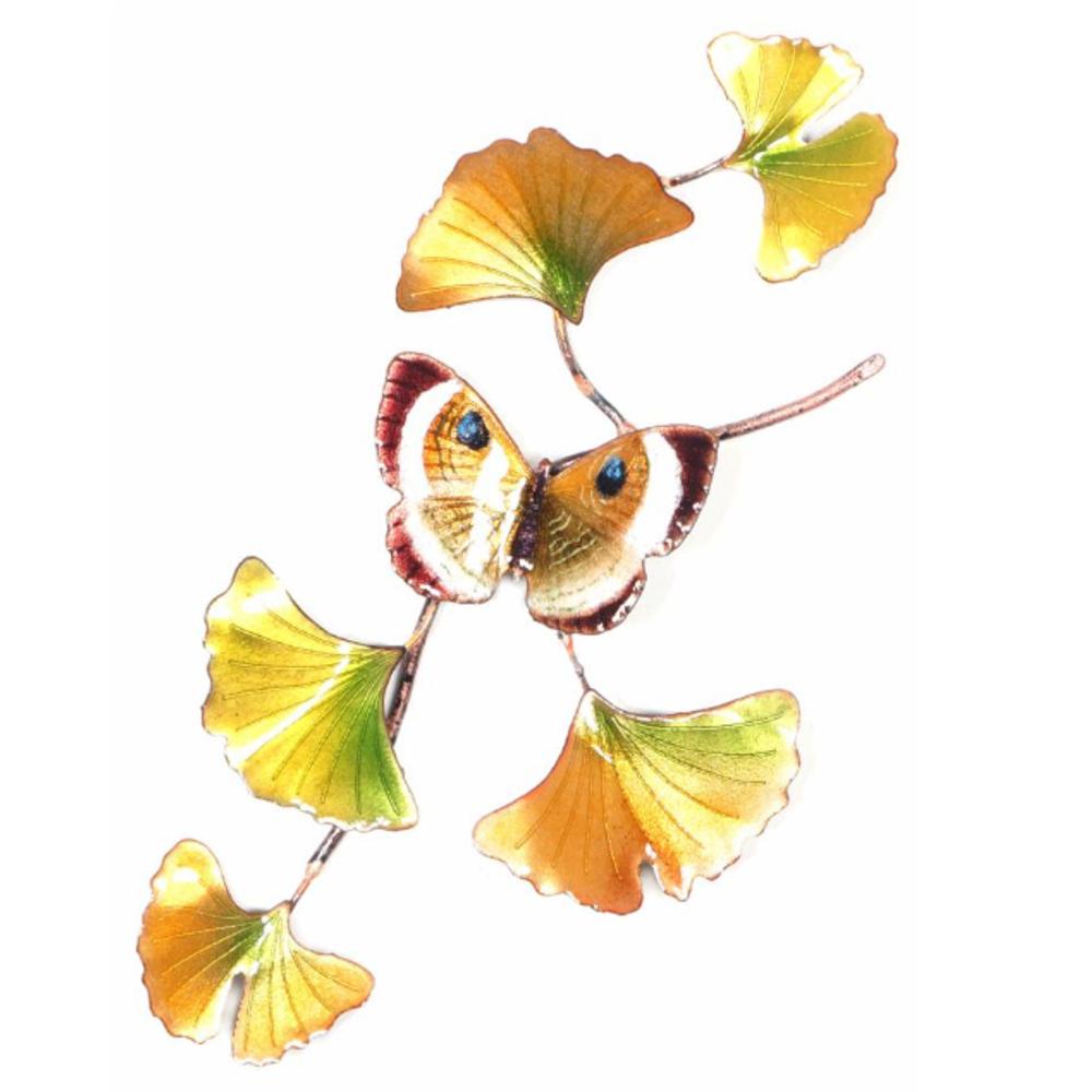 Bovano Gold Eyemark on Ginkgo Branch Butterfly Wall Art | W142