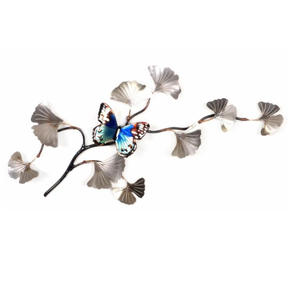 Bovano Blue Beauty on SS Ginkgo Leaves Butterfly Wall Art   W130SS