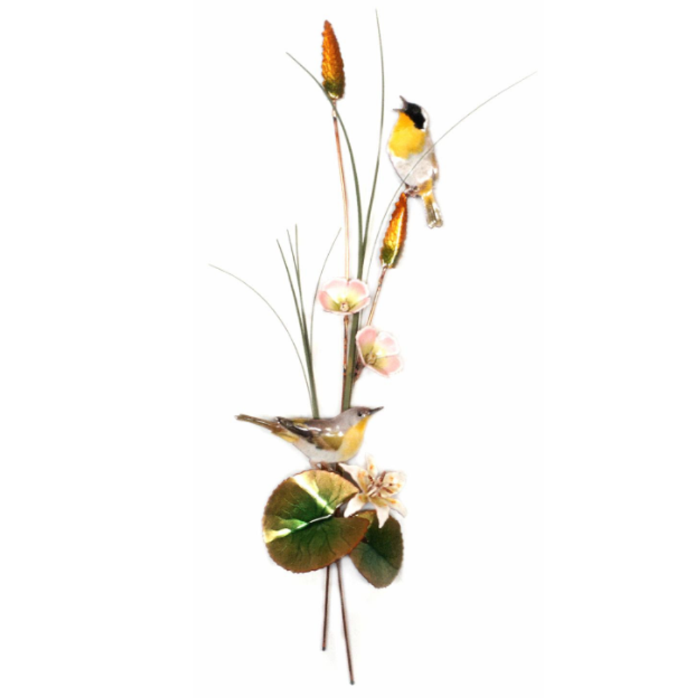 Bovano Yellow Throated Warblers with Cattails Bird Wall Art | W7641