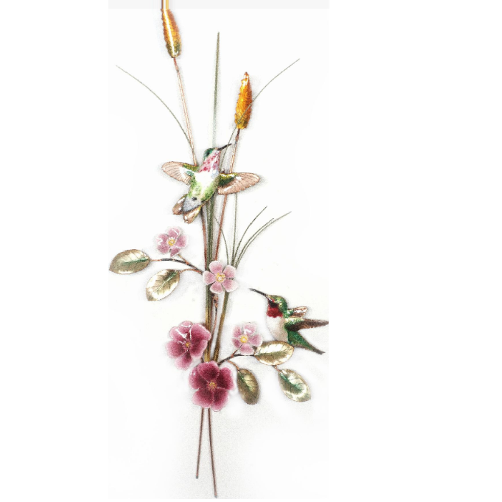 Bovano Hummingbirds with Wild Rose Bird Wall Art | W7642