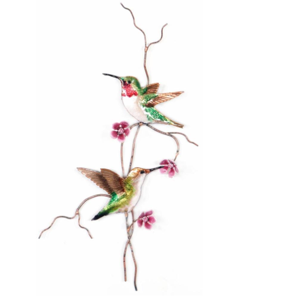Bovano Ruby Throat Hummingbird Pair Bird Wall Art   W4462