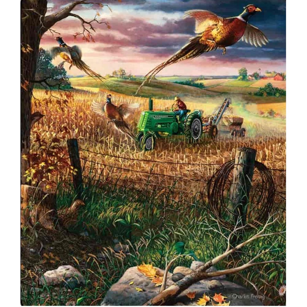 """Pheasant Faux-Fur Blanket """"Autumn Harvest"""""""