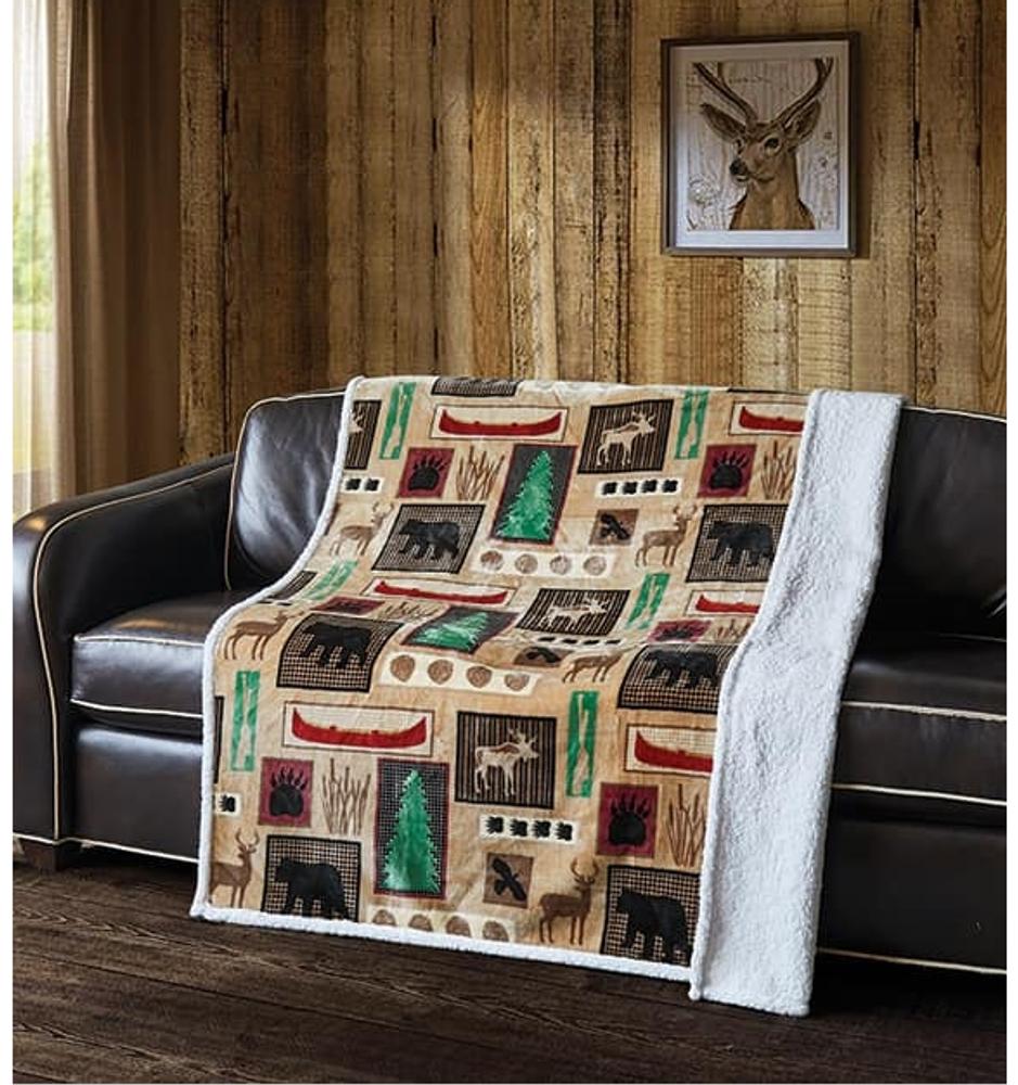 "Bear Flannel Sherpa Throw Blanket ""Lake Living""   DTR10018"