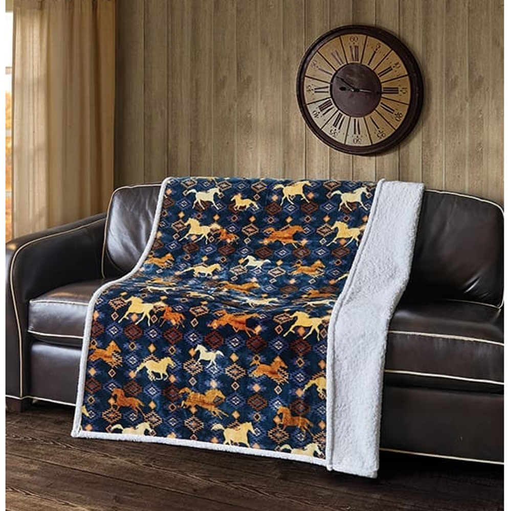 "Horse Flannel Sherpa Throw Blanket ""Wild & Free"" | DTR10040"