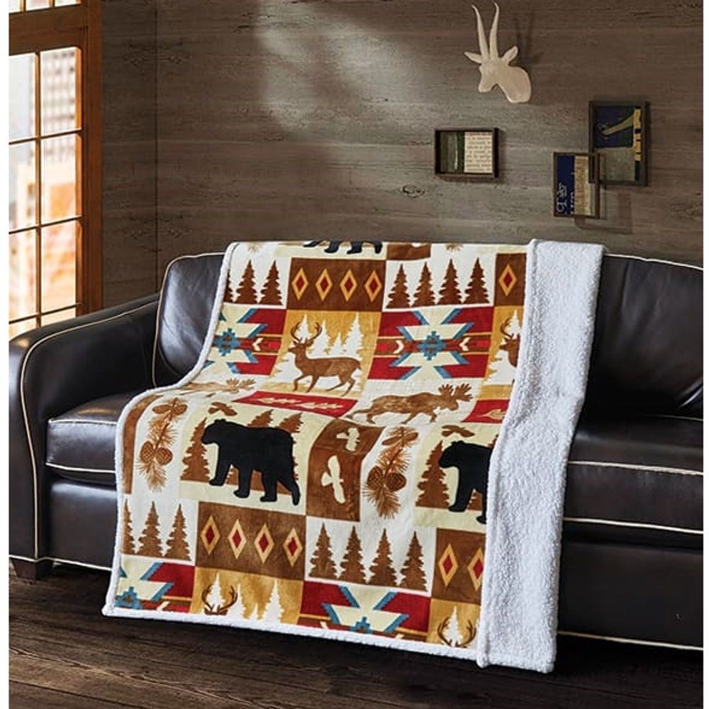 "Bear Flannel Sherpa Throw Blanket ""Wildlife Watch""   DTR10021"