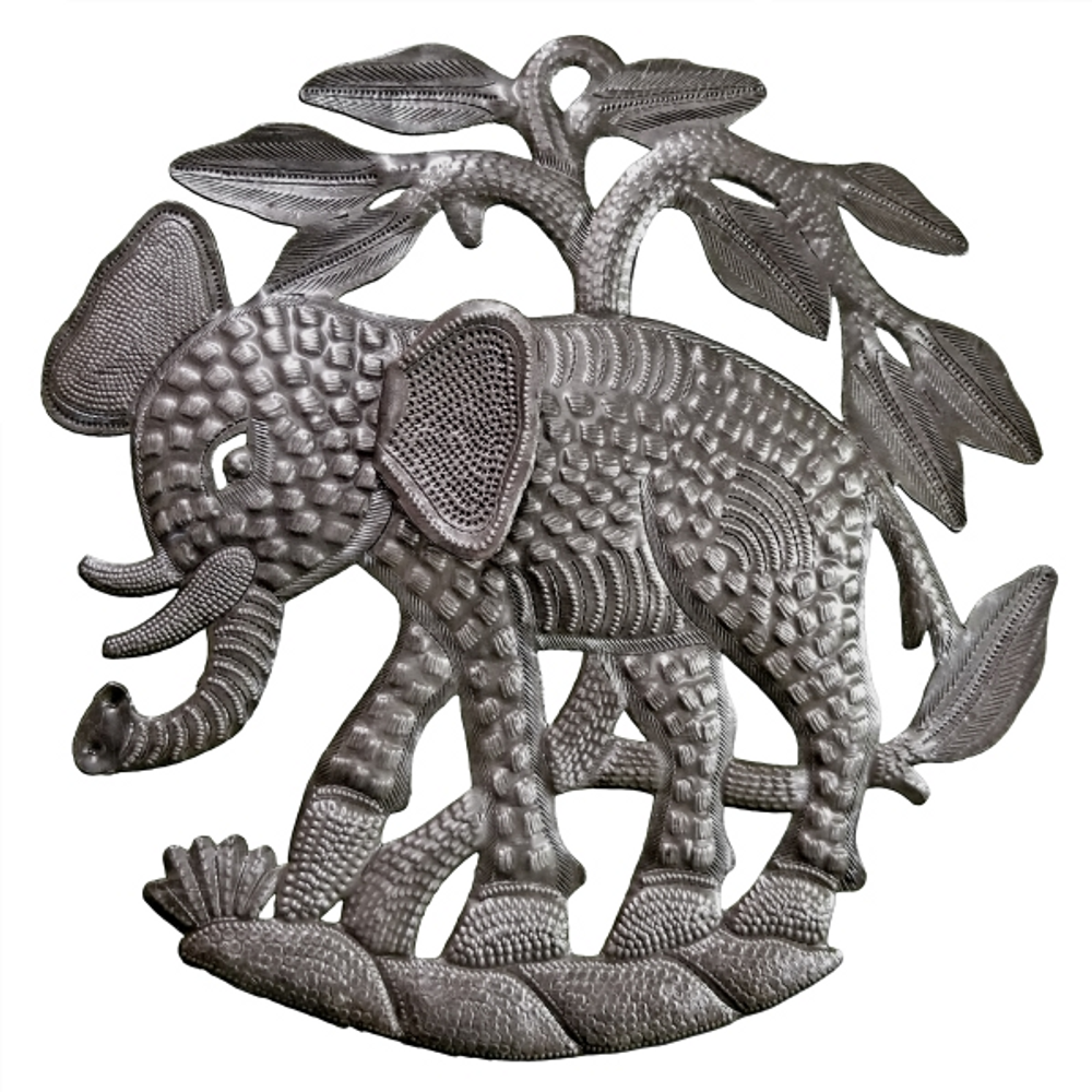 Elephant and Tree Recycled Steel Drum Wall Art   Le Primitif