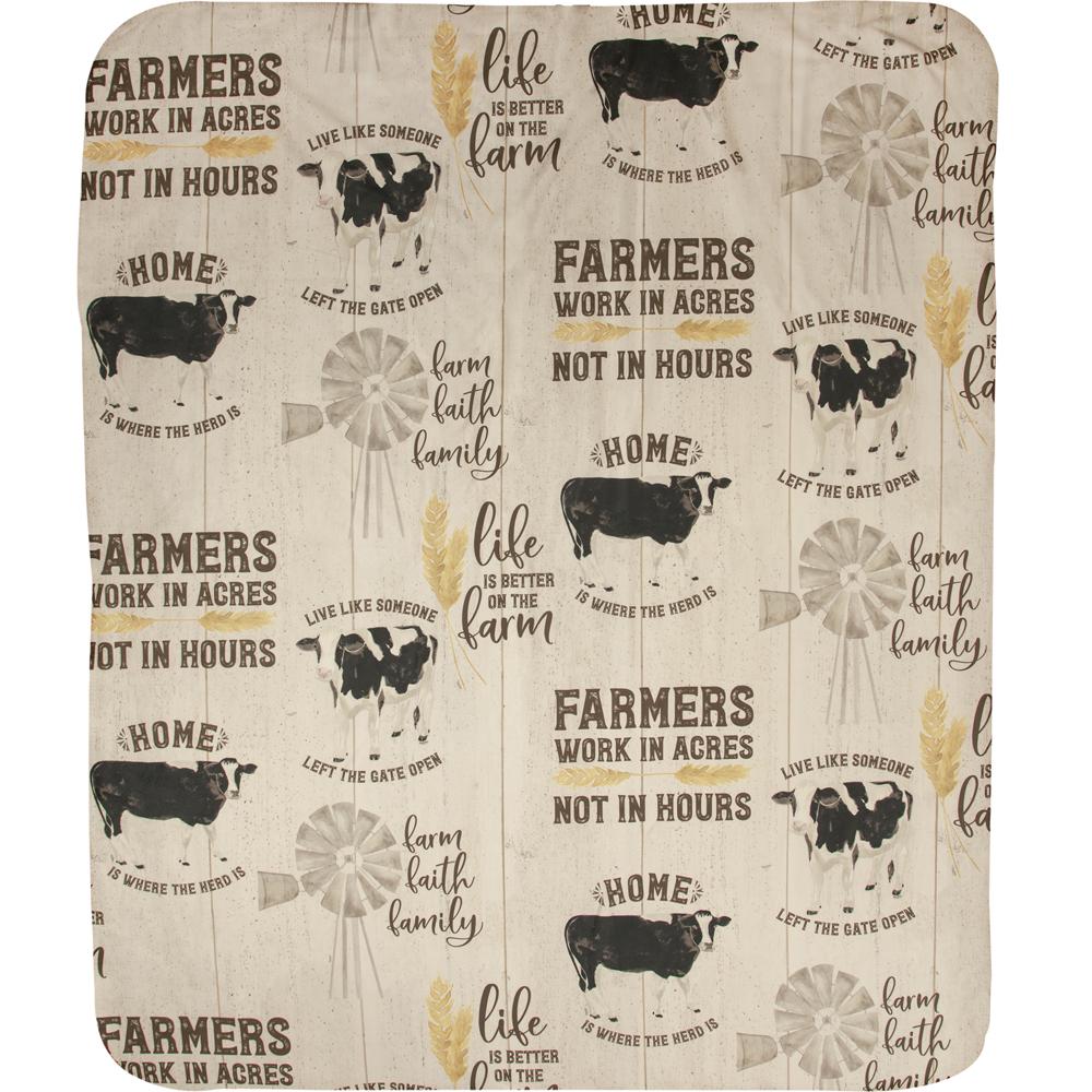 "Cow Sherpa Fleece Throw Blanket ""Farm Life""   SAFMLF"