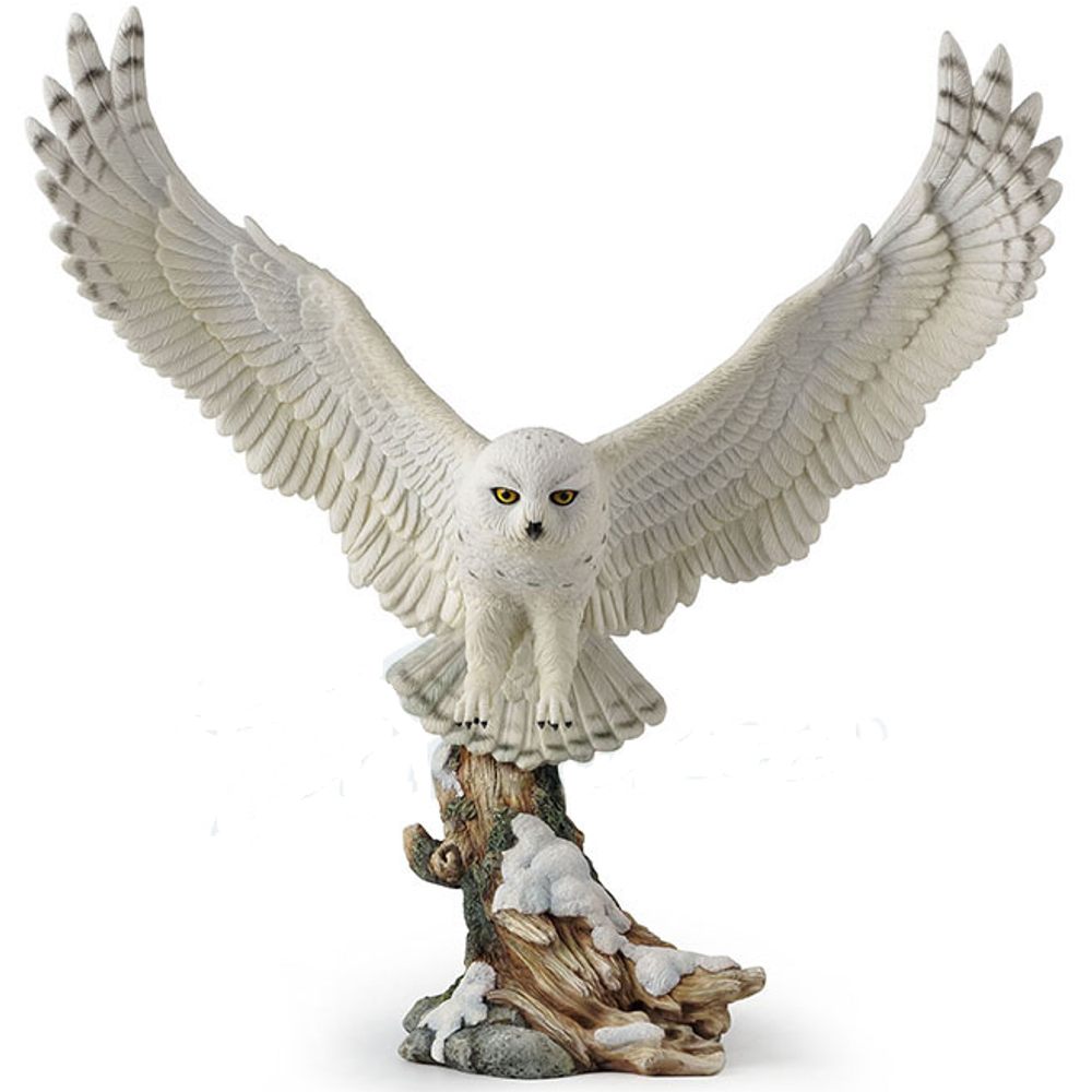Flying Snowy Owl Sculpture   Unicorn Studios   WU77435AA