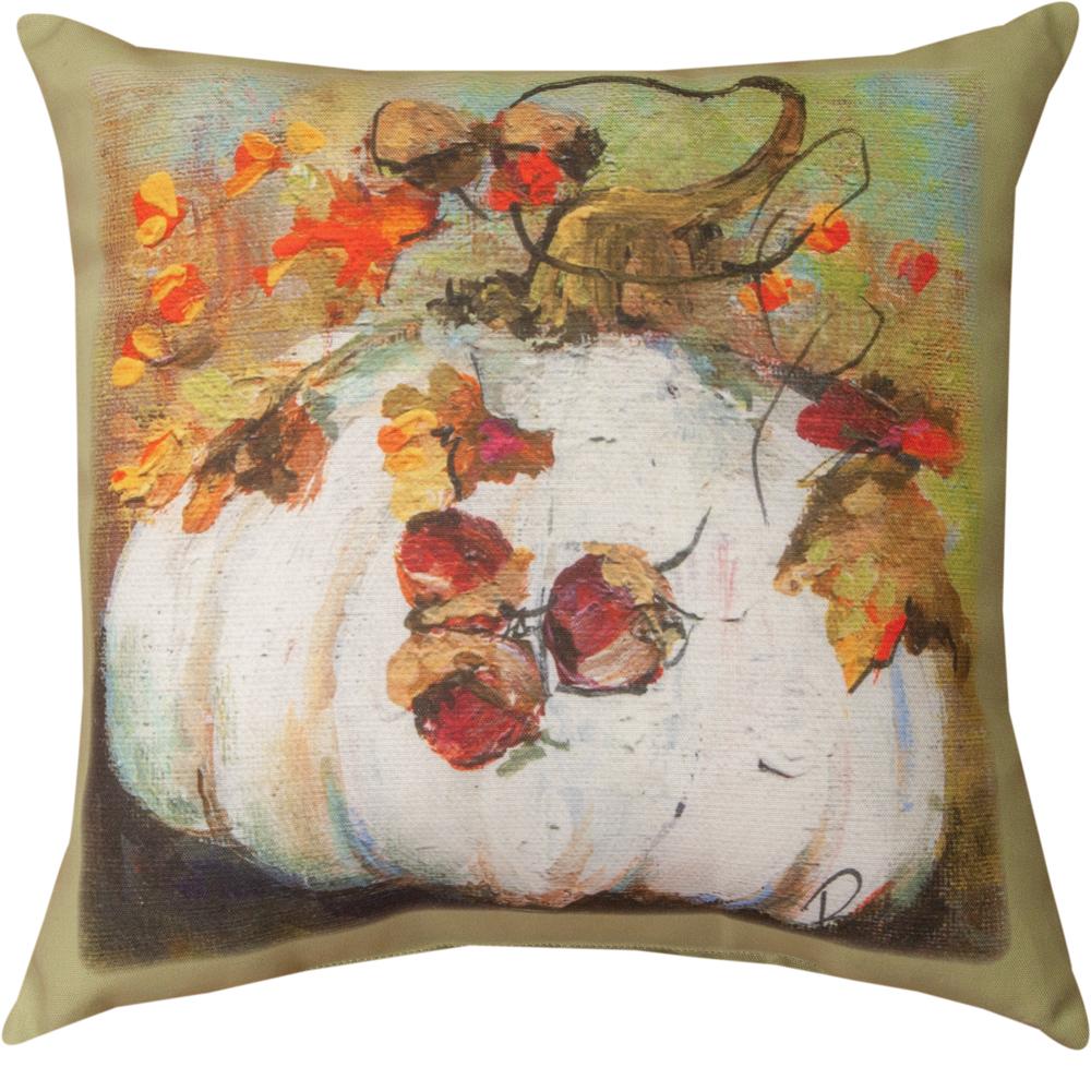 White Pumpkin Indoor Outdoor Throw Pillow   SLWPMP
