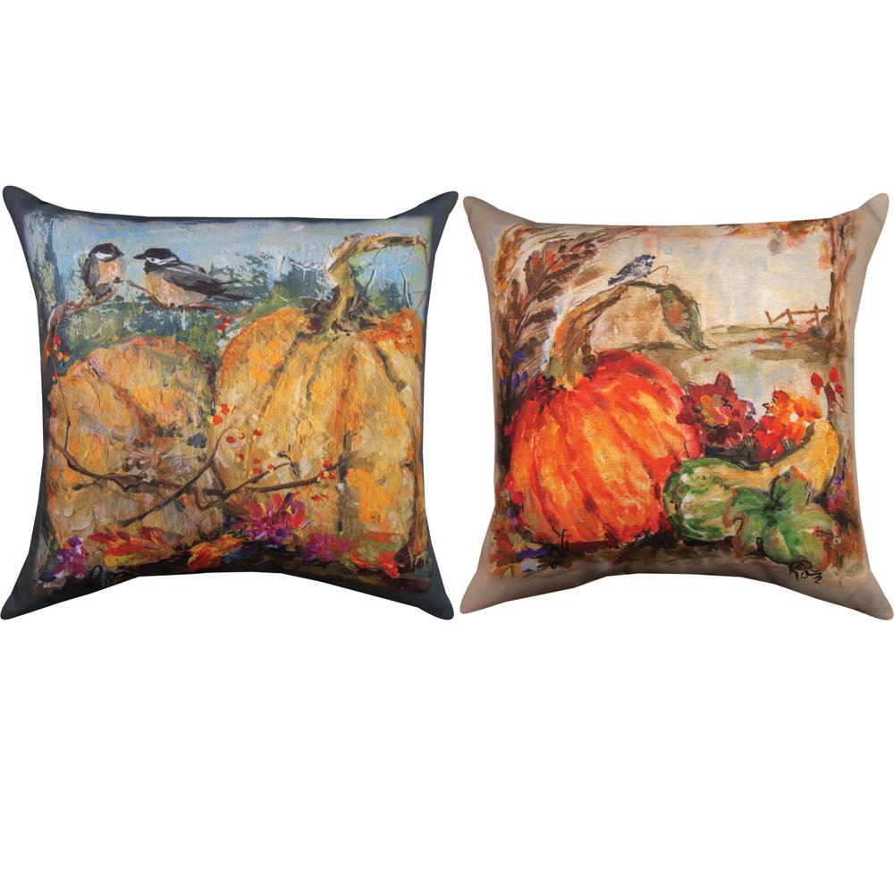 Two Chickadees on Pumpkin Indoor Outdoor Throw Pillow | SL2CKP