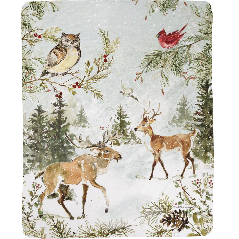 "Owl Throw Blanket ""Snowy Forest"" 
