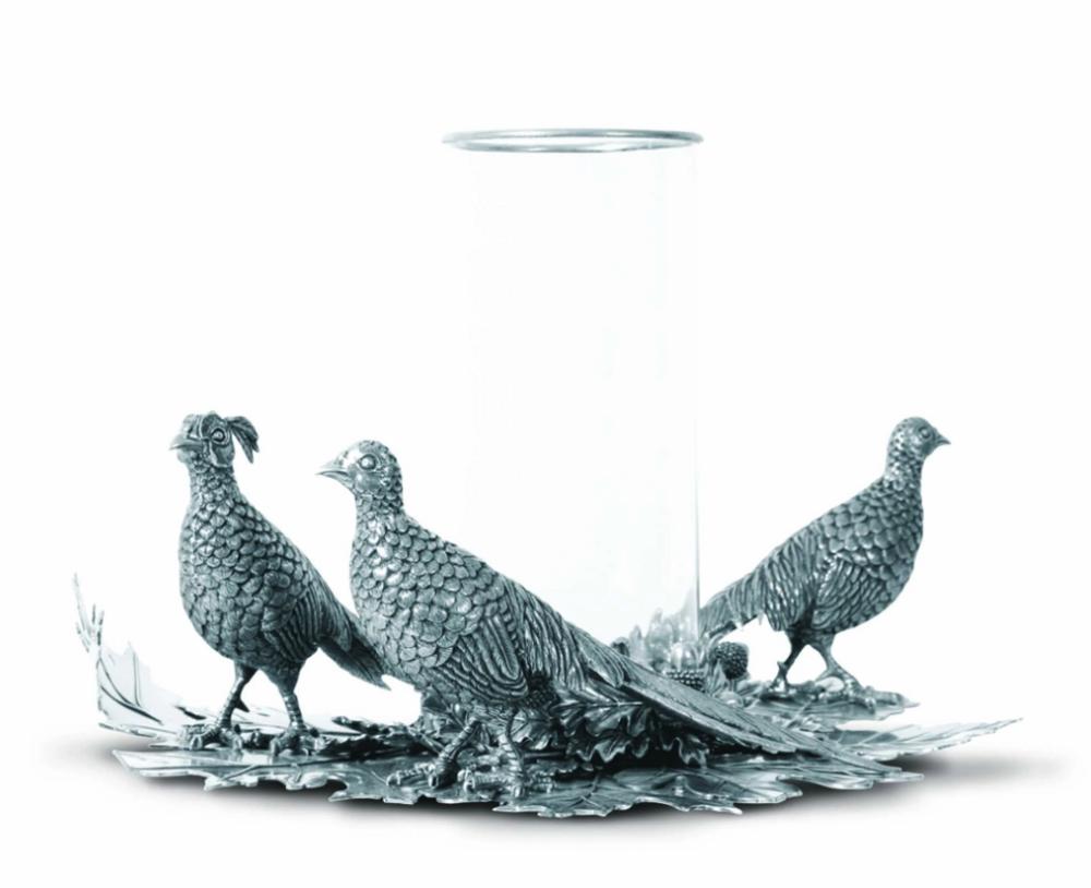 Pheasant Pillar Centerpiece Candle Holder | Vagabond House | V919