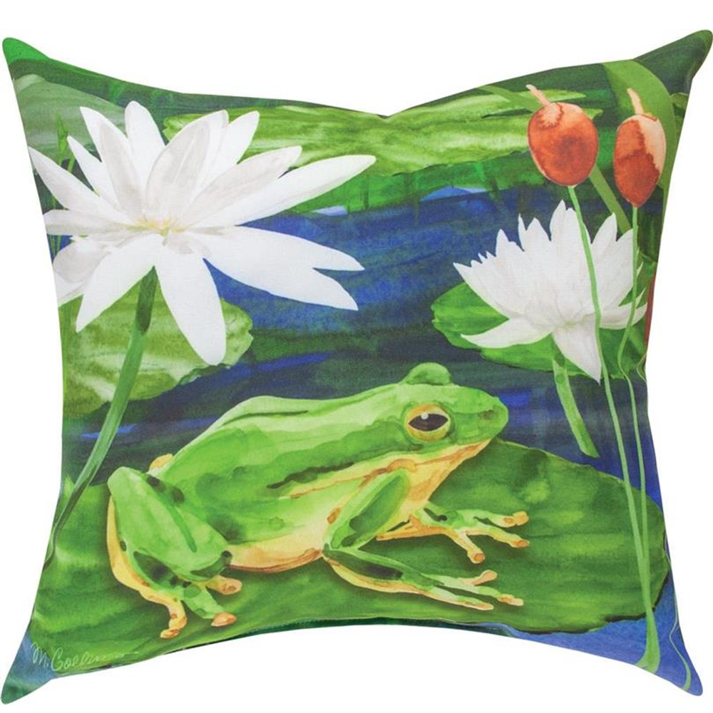 Frog on Lily Pad Indoor Outdoor Throw Pillow | SLFROG