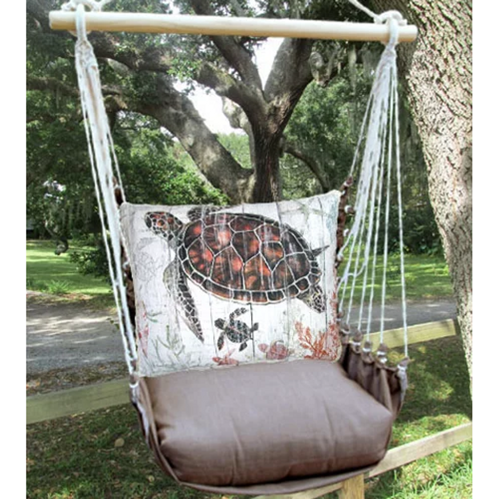 """Sea Turtle and Baby Hammock Chair Swing """"Chocolate"""" 