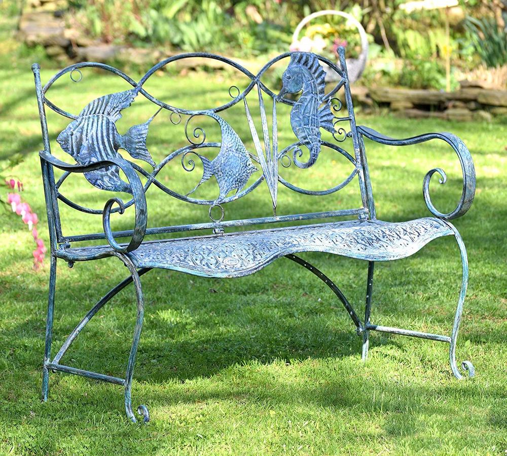 Seahorse and Fish Iron Garden Bench   Zaer International   ZR160016