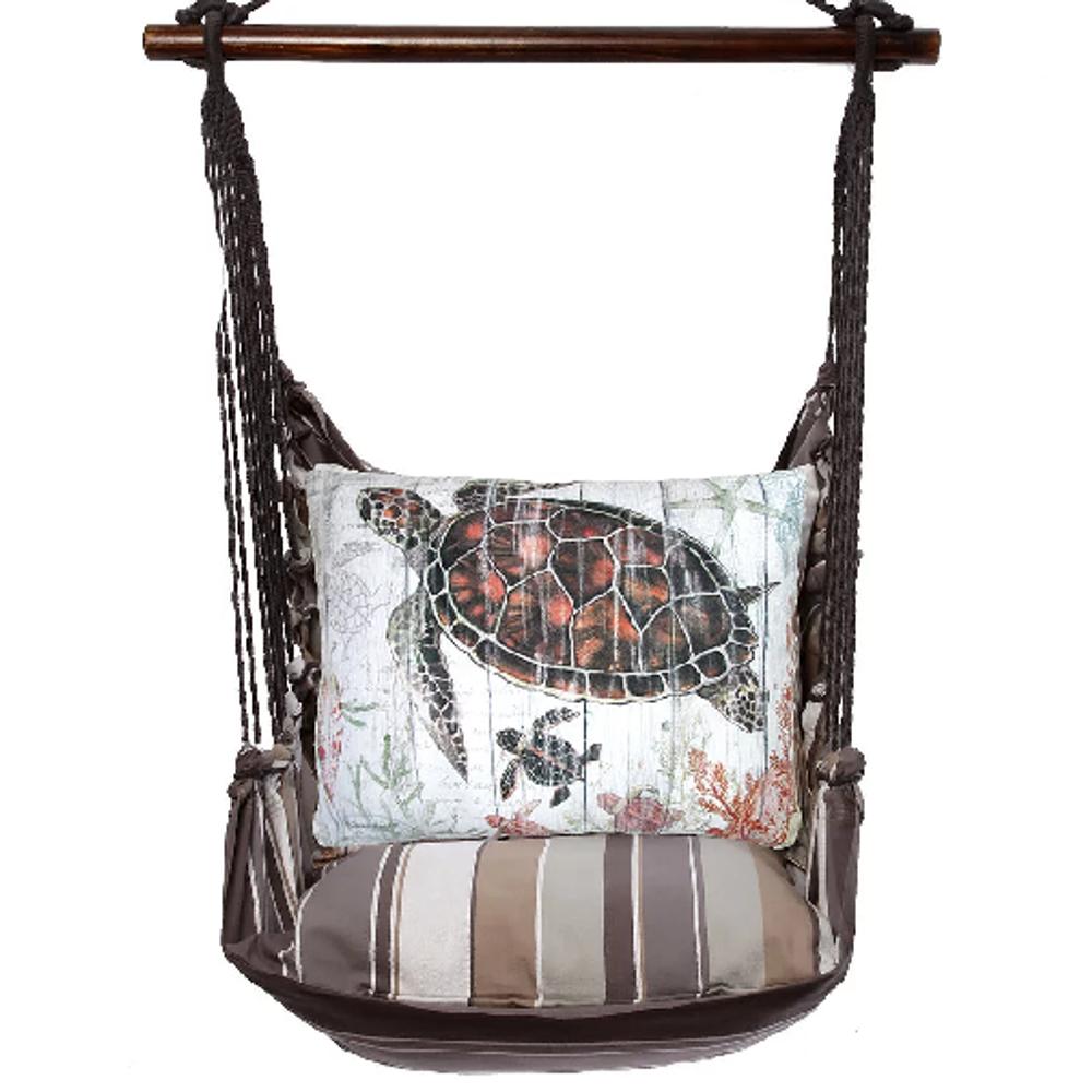 "Sea Turtle and Baby Hammock Chair Swing ""Slate Gray""   Magnolia Casual   SGSW801-SP"