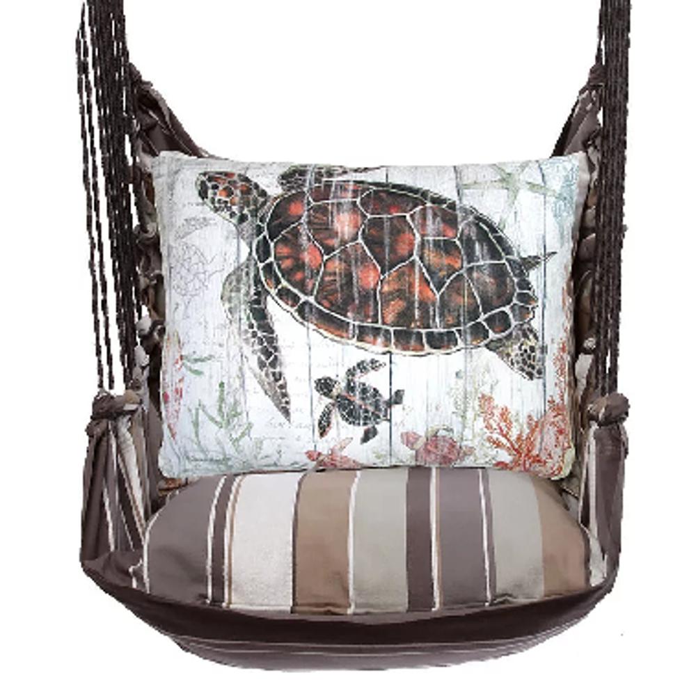 "Sea Turtle and Baby Hammock Chair Swing ""Slate Gray"" | Magnolia Casual | SGSW801-SP"