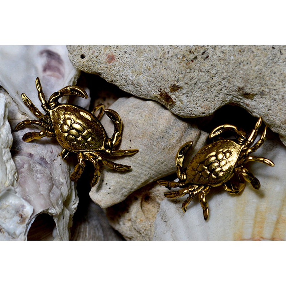 Crab Antiqued Gold Solid Brass Post Earrings | Elaine Coyne Jewelry | ECGOCG76E