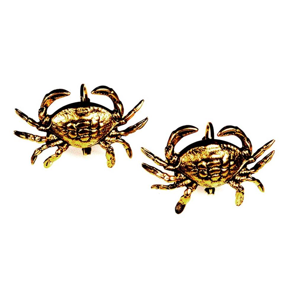 Crab Antiqued Gold Solid Brass Post Earrings   Elaine Coyne Jewelry   ECGOCG76E