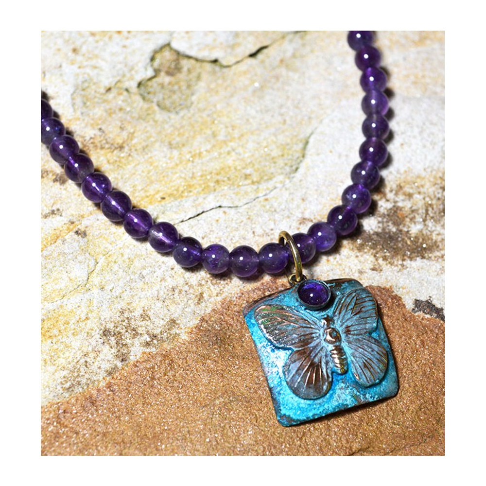 Butterfly Verdigris Patina Solid Brass Necklace with Amethyst   Elaine Coyne Jewelry   ECGBUP129NAM