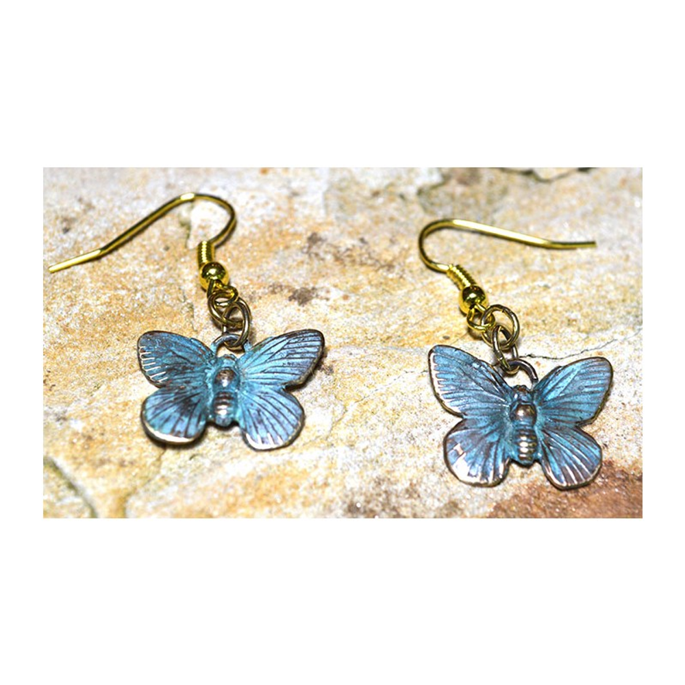 Butterfly Verdigris Patina Solid Brass Wire Earrings | Elaine Coyne Jewelry | ECGBUP129E