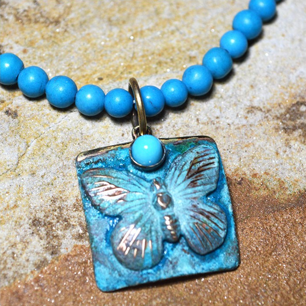Butterfly Verdigris Patina Solid Brass Turquoise Necklace | Nature Jewelry