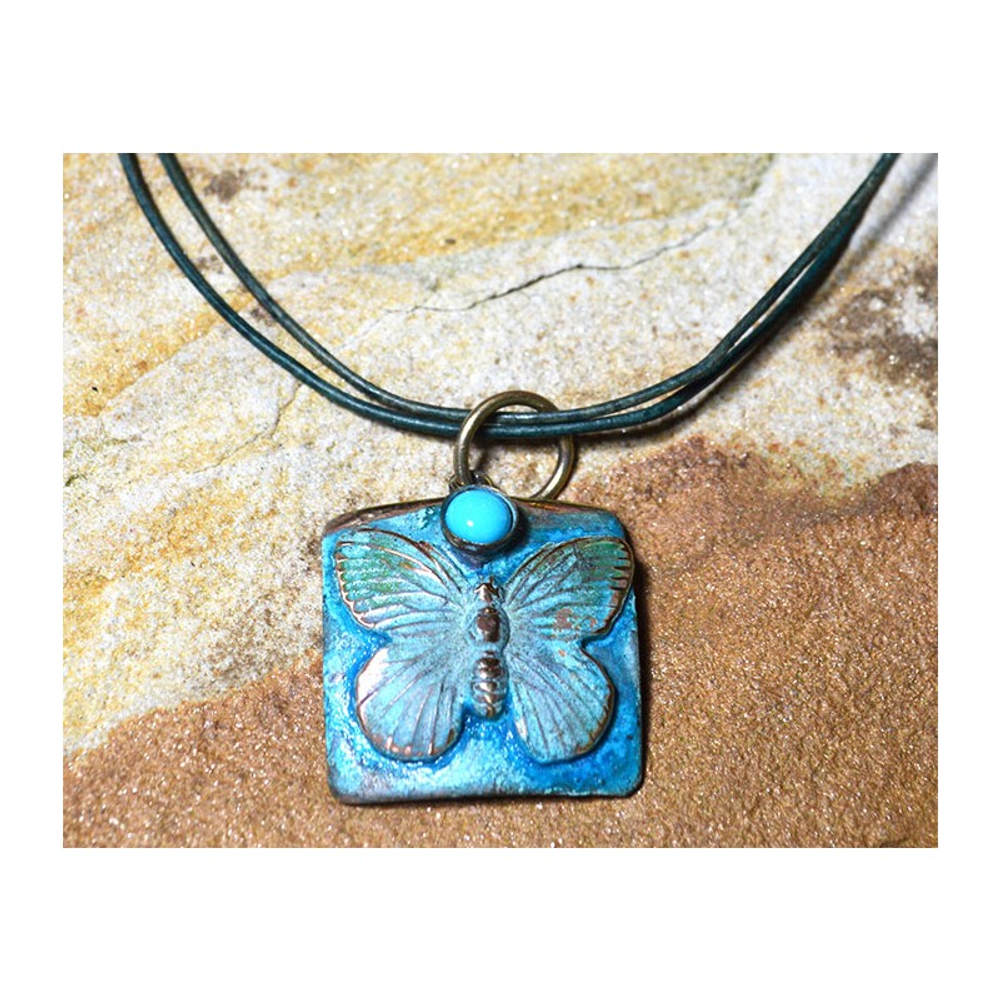 Butterfly Verdigris Patina Solid Brass Turquoise Pendant Necklace   Elaine Coyne Jewelry   ECGBUP129PDTU
