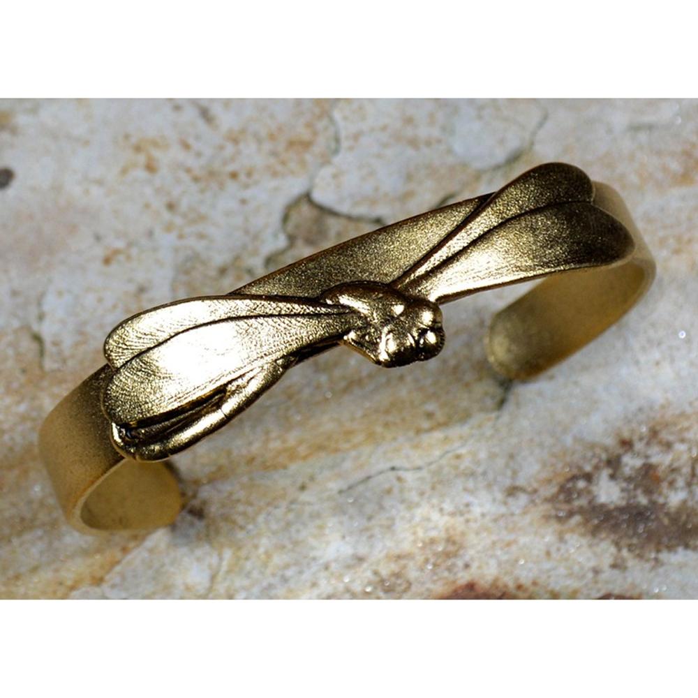 Dragonfly Antiqued Gold Brass Skinny Cuff Bracelet | Elaine Coyne Jewelry | ECGDRG3012CF