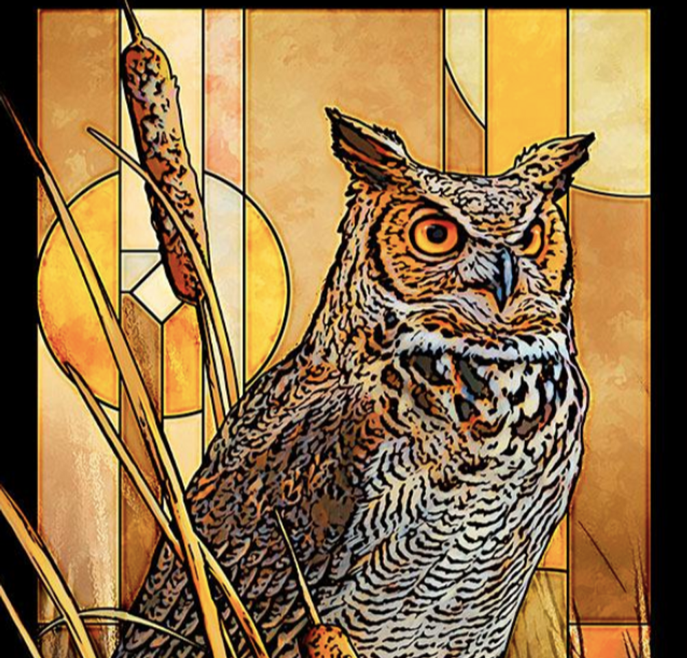 Great Horned Owl Stained Glass Art | Wild Wings | 5386498043