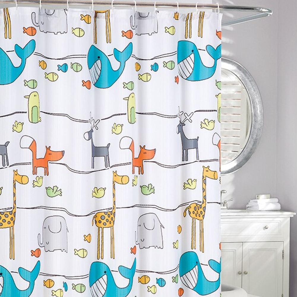 Animal Frolic Fabric Shower Curtain   Moda at Home