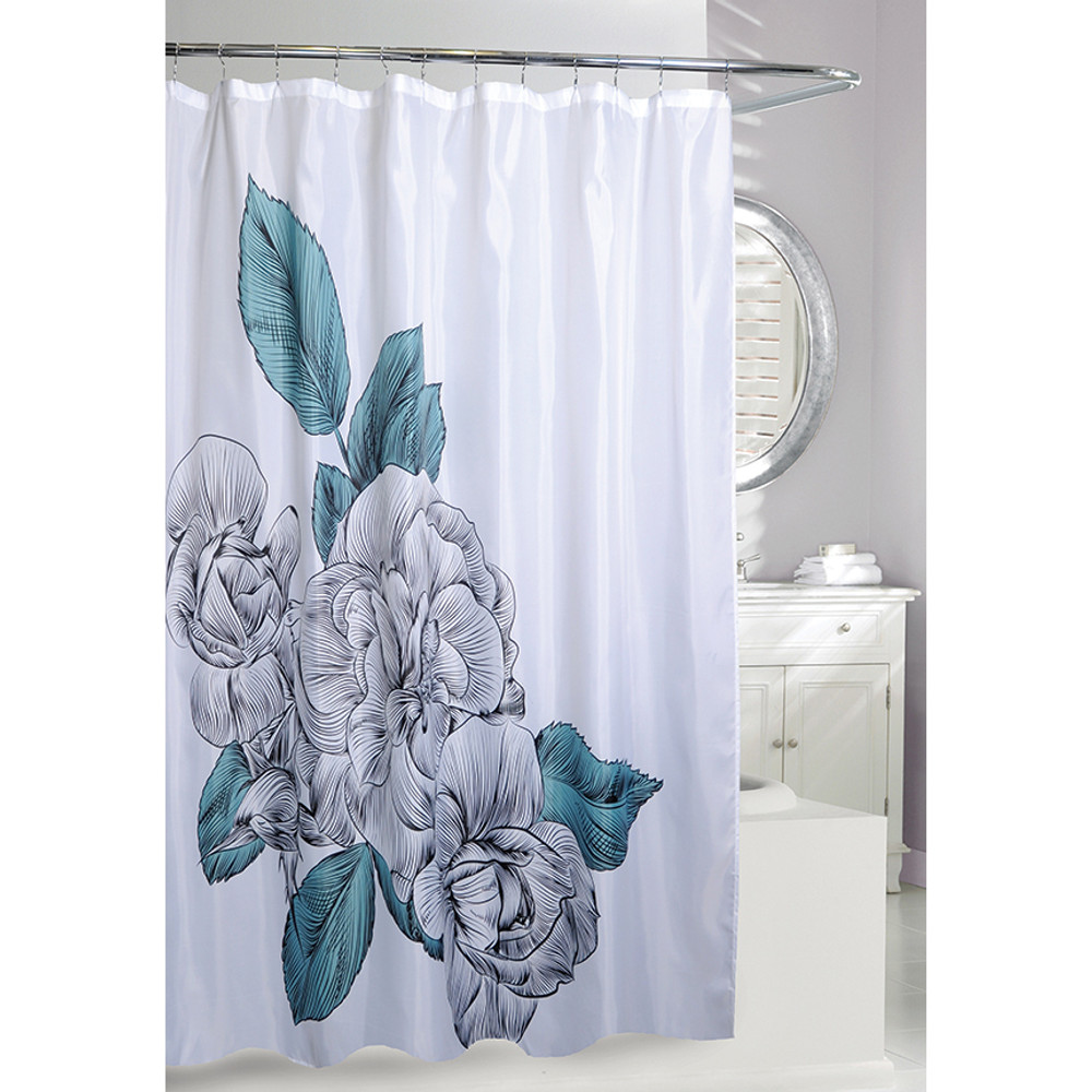 Flower Fabric Shower Curtain | Blue Sketch Floral Shower Curtain | Moda at Home