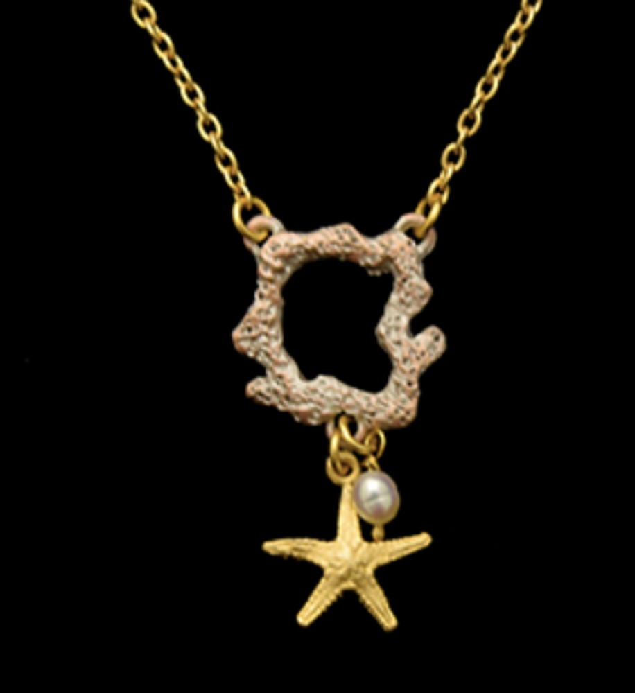 """Coral Reef Dainty 16"""" Pendant Necklace 