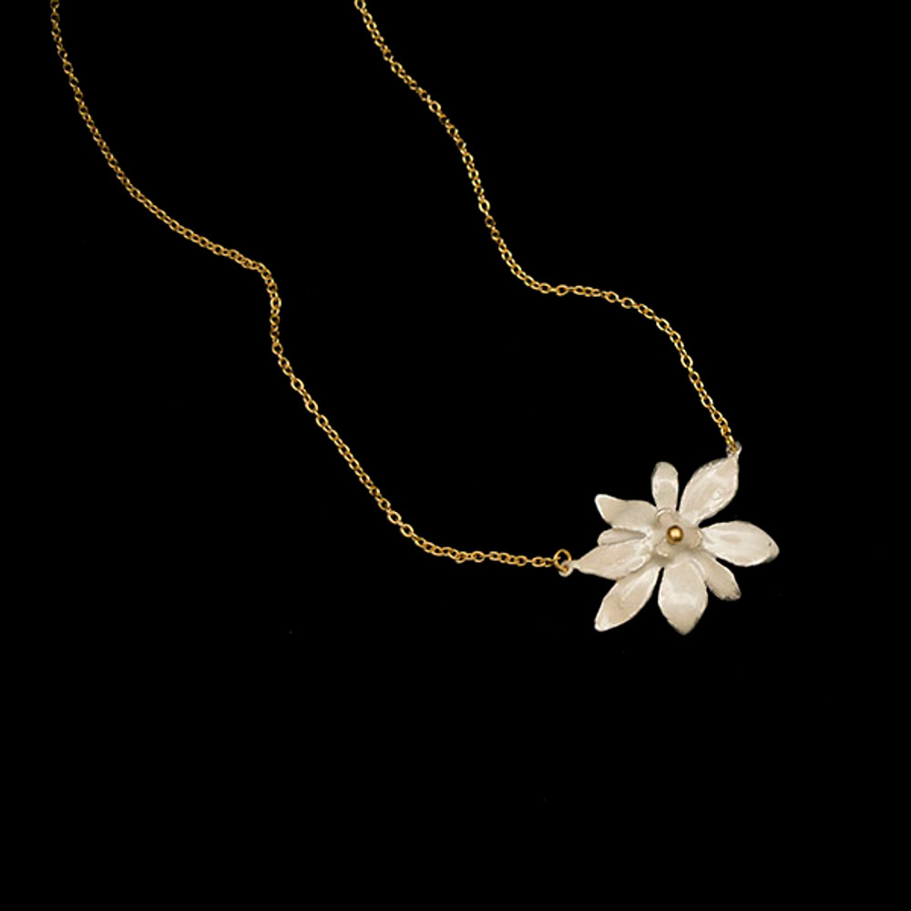 "Magnolia Flower 16"" Pendant Necklace | Nature Jewelry | Michael Michaud | 9289BZ"