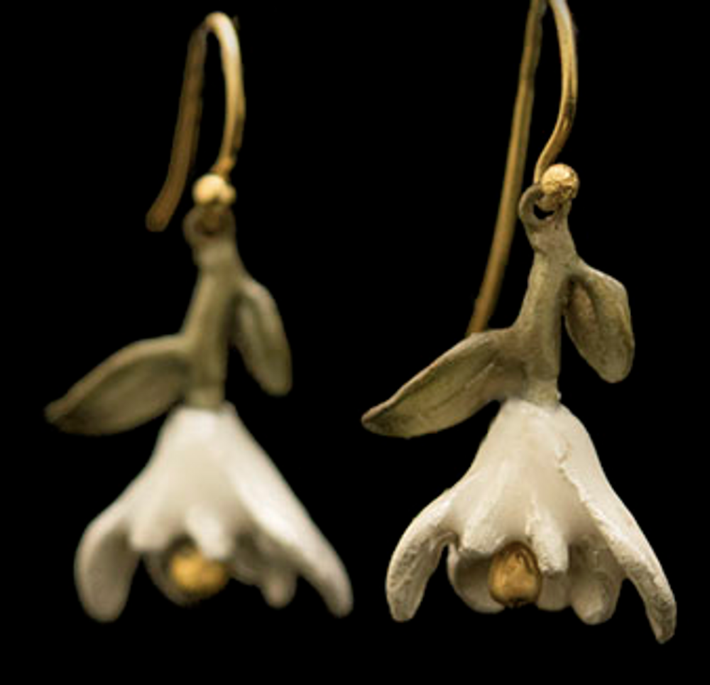 Magnolia Blossom Drop Wire Earrings   Nature Jewelry   Michael Michaud   3534BZ