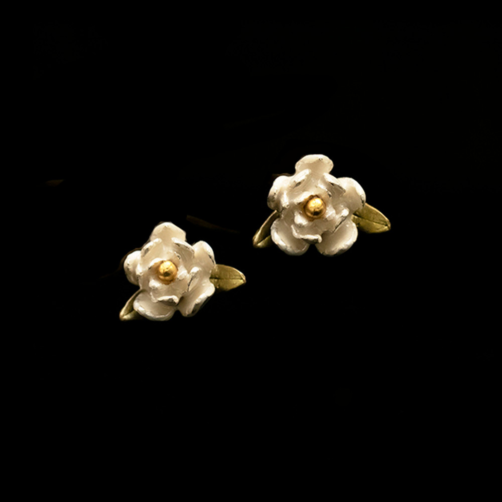 Magnolia Blossom Post Earrings | Nature Jewelry | Michael Michaud | 3536BZ