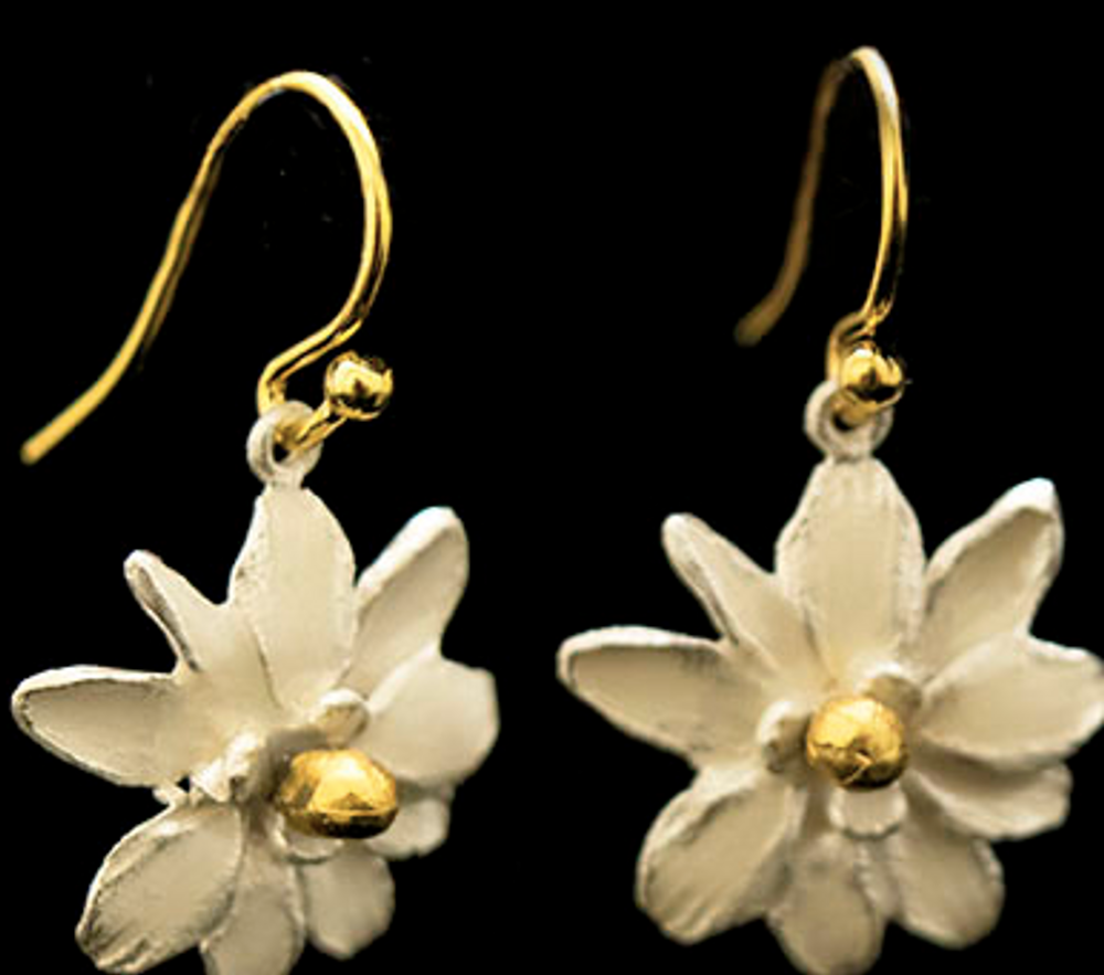 Magnolia Flower Wire Earrings   Nature Jewelry   Michael Michaud   3543BZ