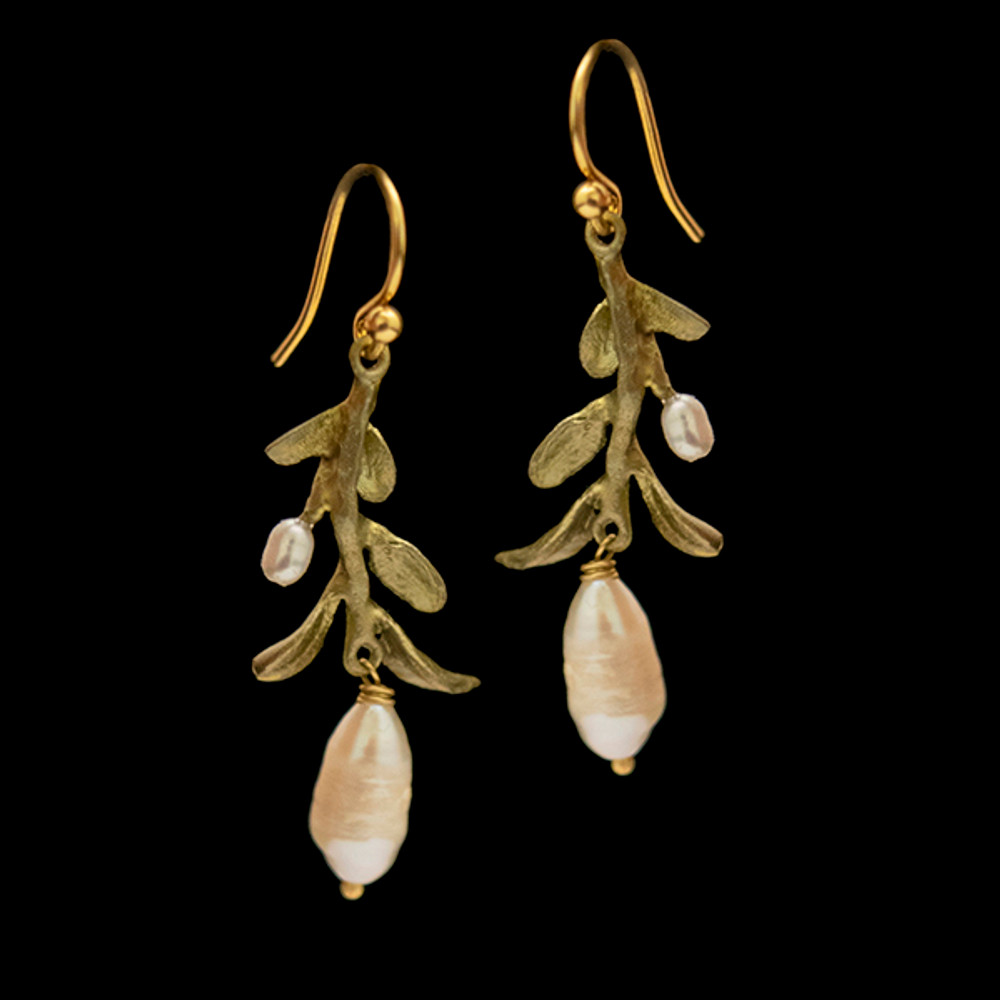 Victorian Vine Leaf Wire Earrings | Nature Jewelry | Michael Michaud | 3555BZ