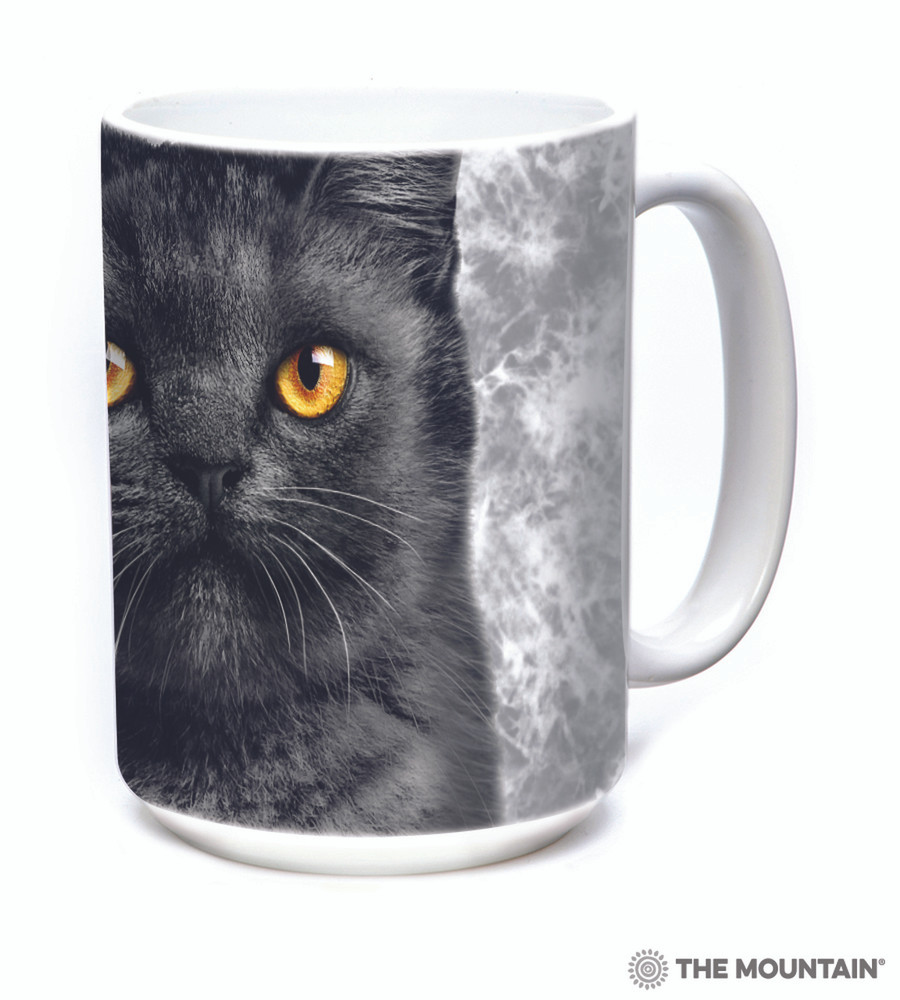 Black Cat Face 15oz Ceramic Mug | The Mountain | 57366609011 | Cat Mug