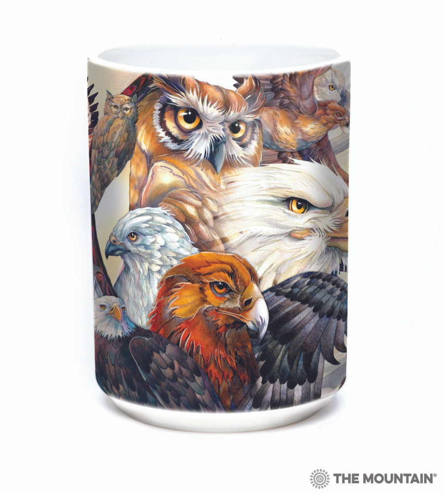 Sky Kings Birds of Prey 15oz Ceramic Mug | The Mountain | 57434609011 | Owl Mug | Eagle Mug