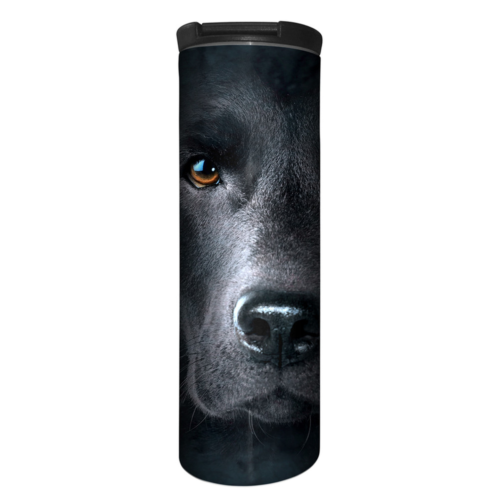 Black Lab Face Stainless Steel 17oz Travel Mug | The Mountain | 5932551 | Black Lab Travel Mug
