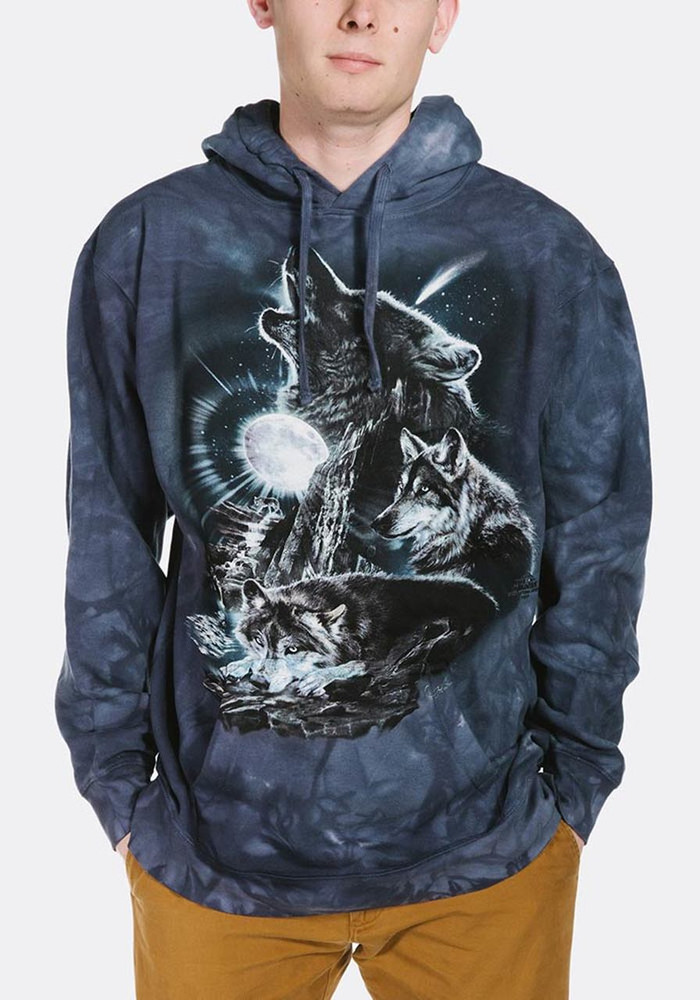 Bark at the Moon Wolves Unisex Hoodie | The Mountain | 722275 | Wolf Sweatshirt