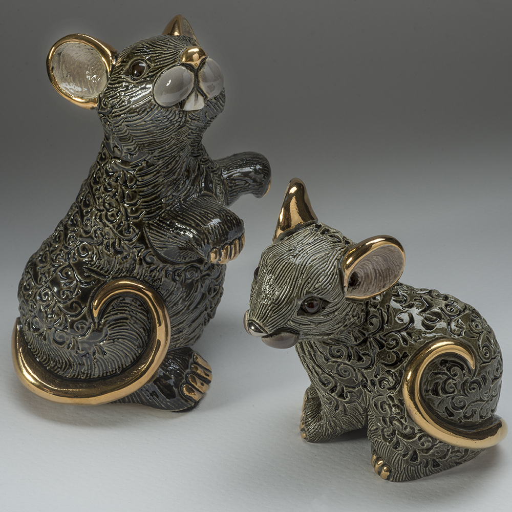 Black Rat Family Ceramic Figurine Set of 2  | De Rosa | F223B-F423B