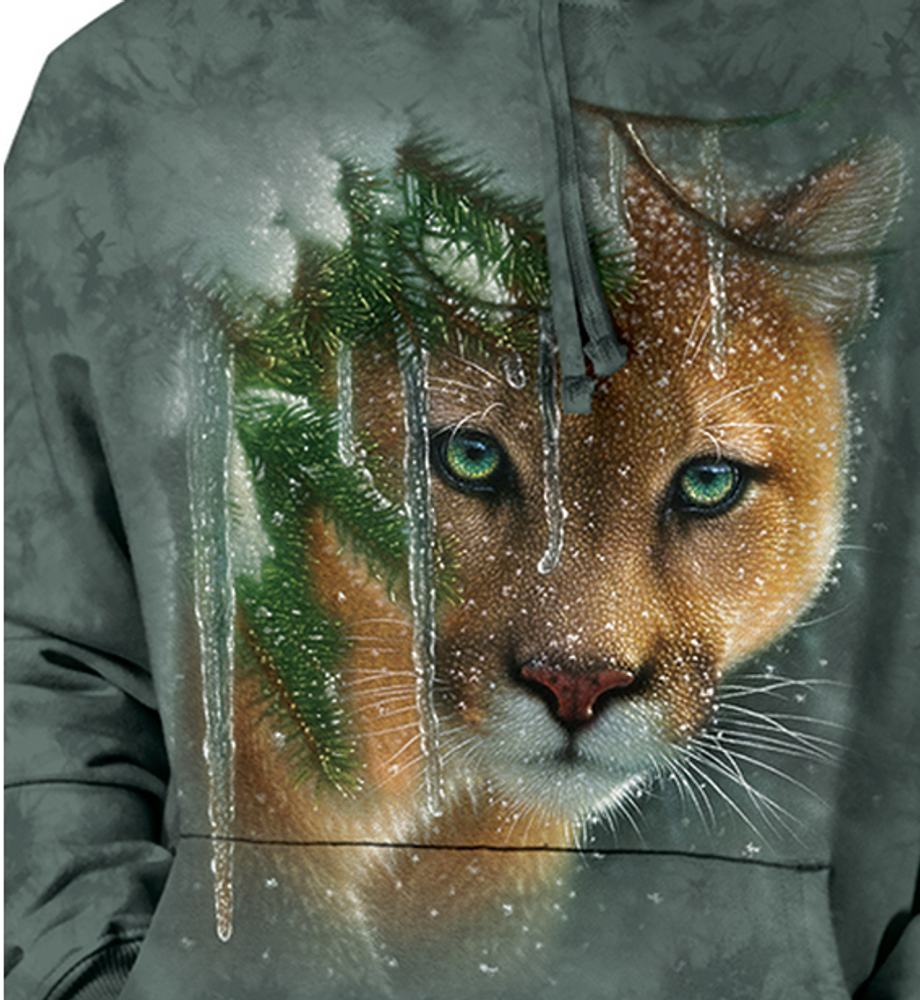 Frozen Mountain Lion Unisex Hoodie | The Mountain | 726389 | Cougar Sweatshirt